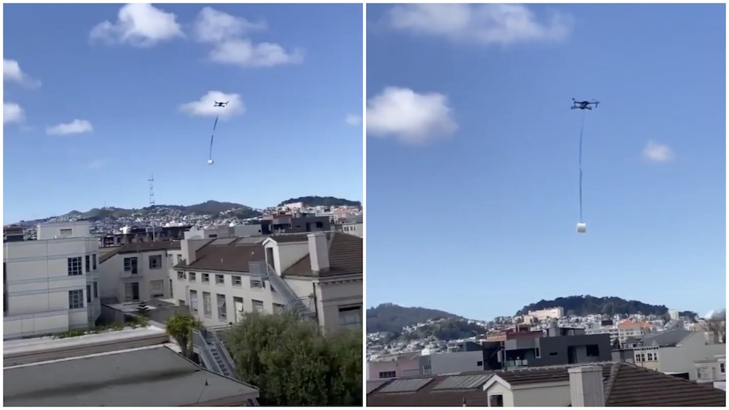 Drone Pilot Flies Drone With a Roll of Toilet Paper Across San Francisco to a Quarantined Friend in Need