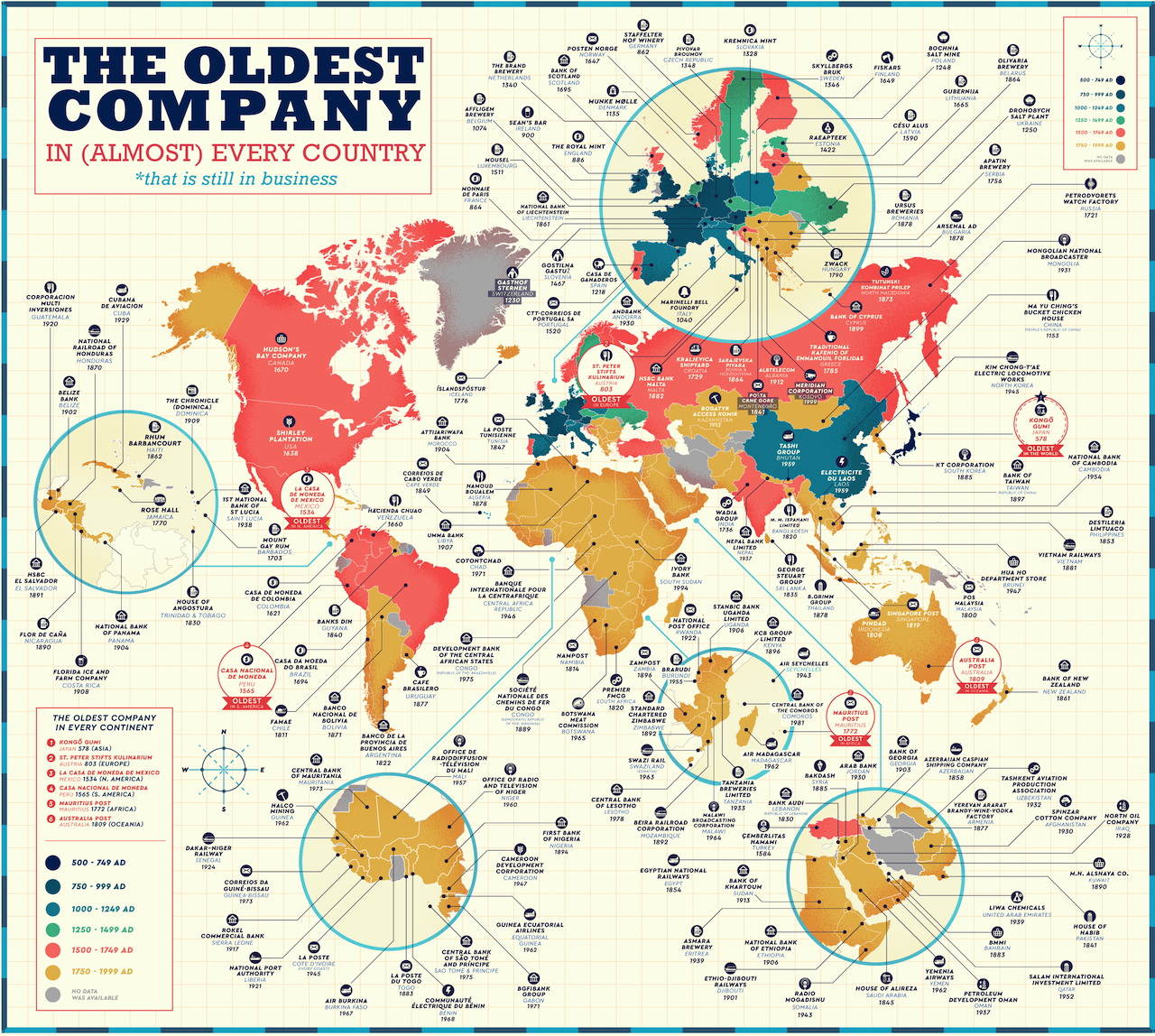 A Map of the Oldest Companies in Almost Every Country Around the World That Are Still in Business