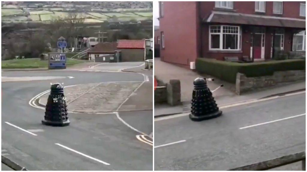 Dalek Warning Stay Inside on Street