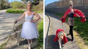 Dancer Dons Colorful Costumes to Walk Dog