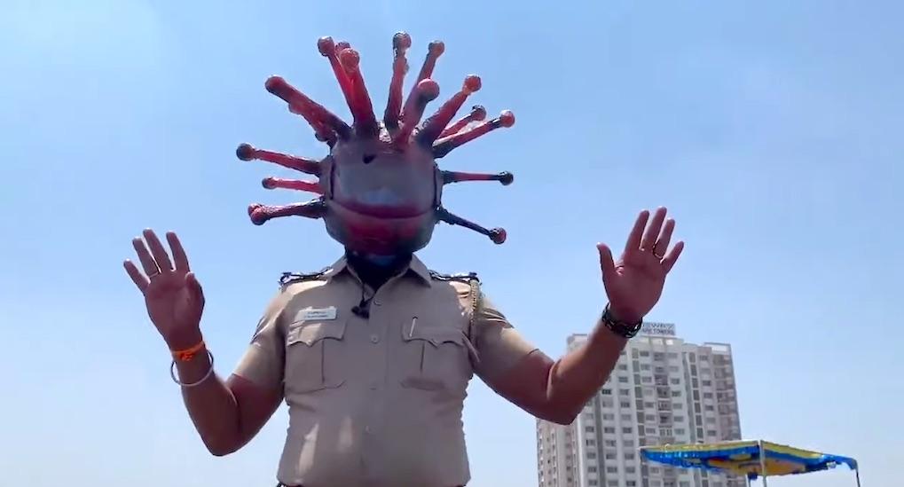 Police Inspector in India Wears Coronavirus Helmet
