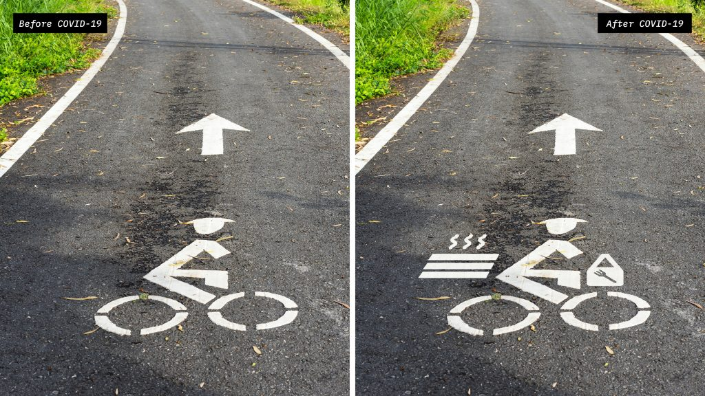Social Distanced Bicycle Sign