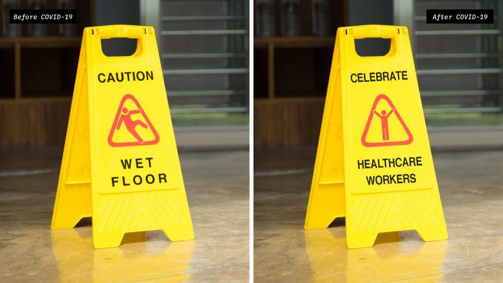 Social Distanced Floor Sign