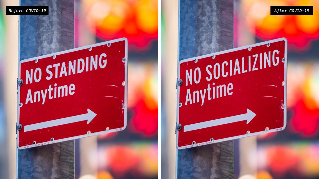 Social Distanced No Standing Anytime Sign