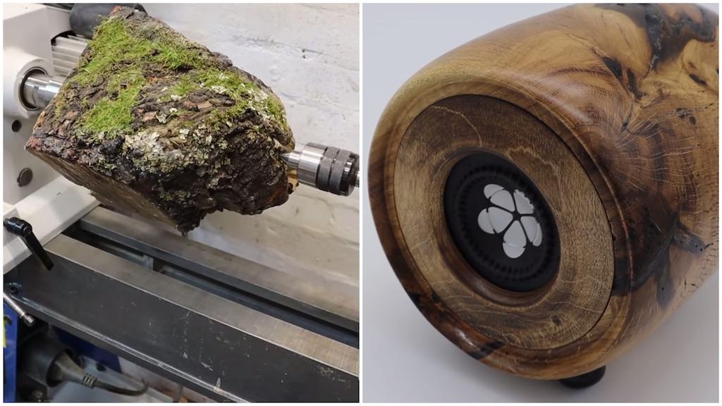 Woodturned Mossy Oak into Portable Speaker