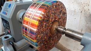 Woodturning Giant Colored Pencil Donut