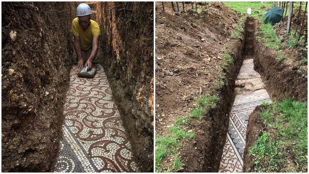A Beautiful Well-Preserved Ancient Roman Mosaic Floor Is Discovered Underneath a Northern Italian Vineyard