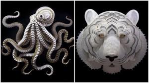 Cut Paper Animal Sculptures