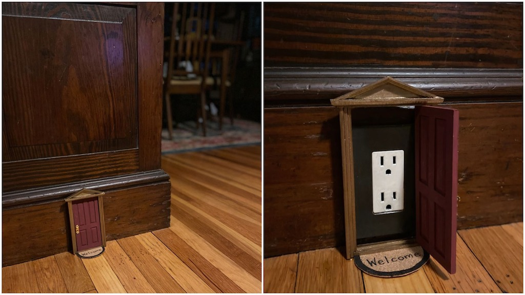 Woman Cleverly Uses Dollhouse Doors to Cover Electrical Outlets Around Her Home