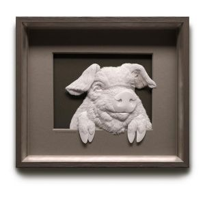 Low Relief Paper Sculpture Pig Calvin Nicholls