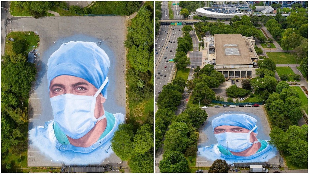 A Giant 20,000 Square Foot Land Mural Portrait at the Queens Museum Honoring NYC Healthcare Workers - laughing squid
