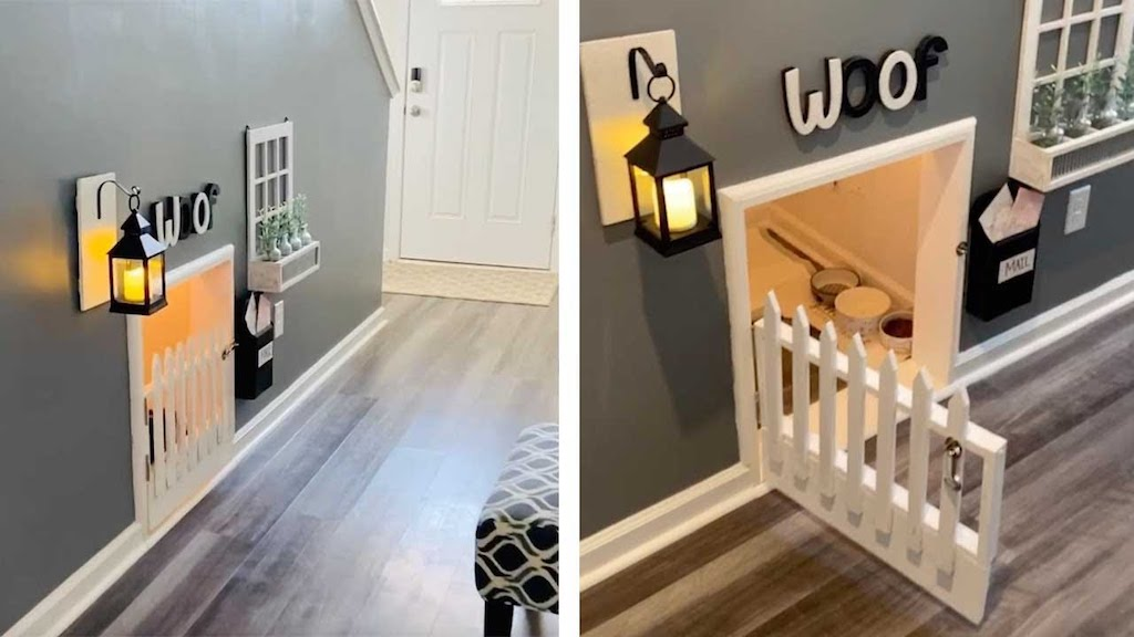 Man Builds a Comfy Secret Hideout Lounge for His Two Dogs Under the Stairs of His Charleston Home - laughing squid