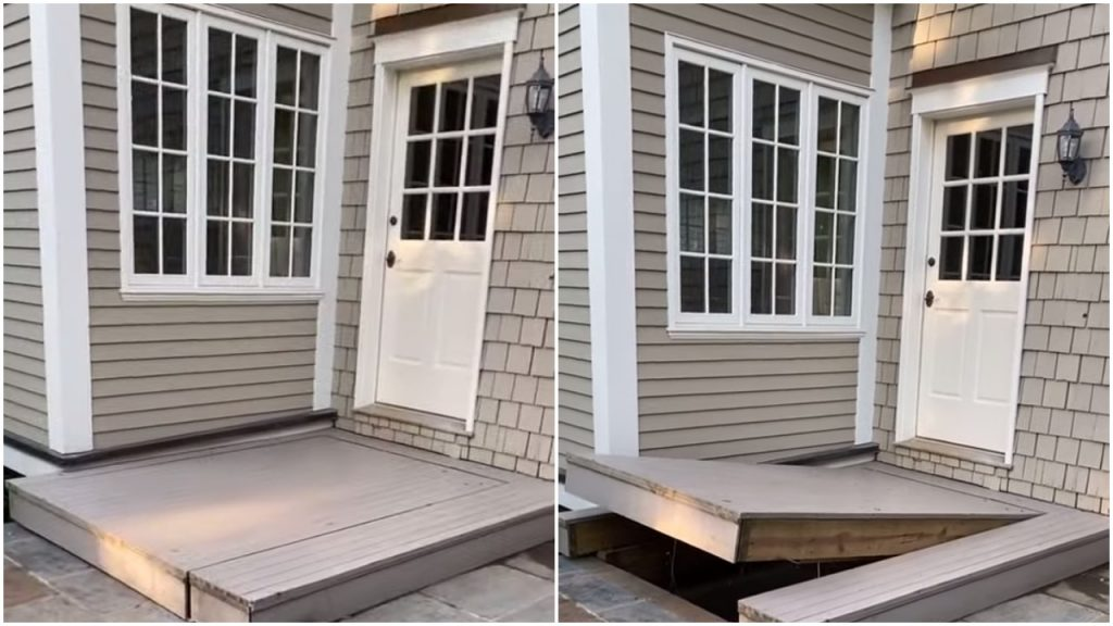 Engineer Builds a Clever Automated Hydraulic Hidden Entryway in His Back Porch to Access the Basement