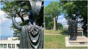 Minerva Statue Waving to Lady Liberty