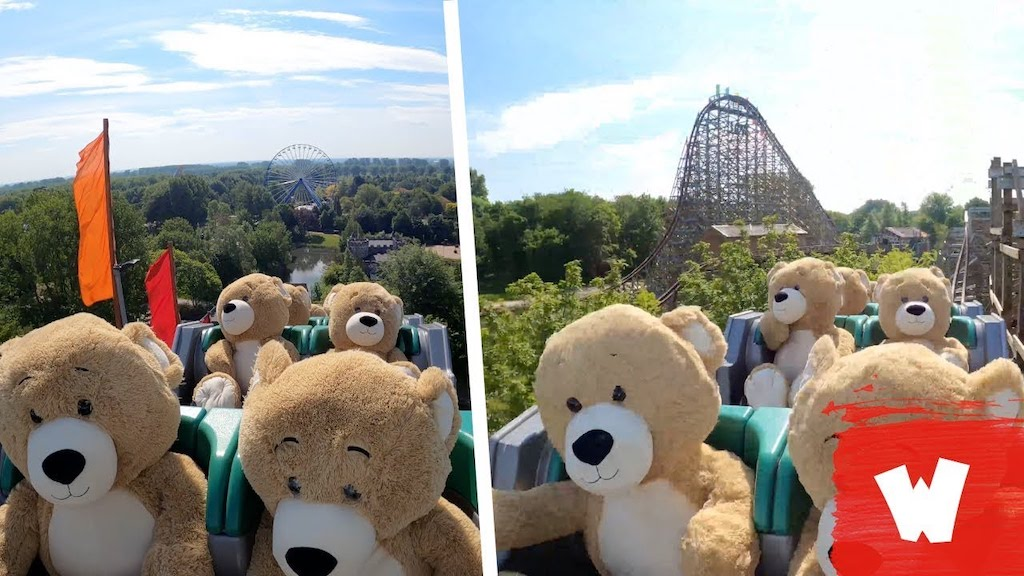22 Giant Teddy Bears Go For a Ride in a Roller Coaster
