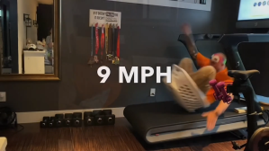 Dad Rides Laundry Basket at 9MPH on Treadmill