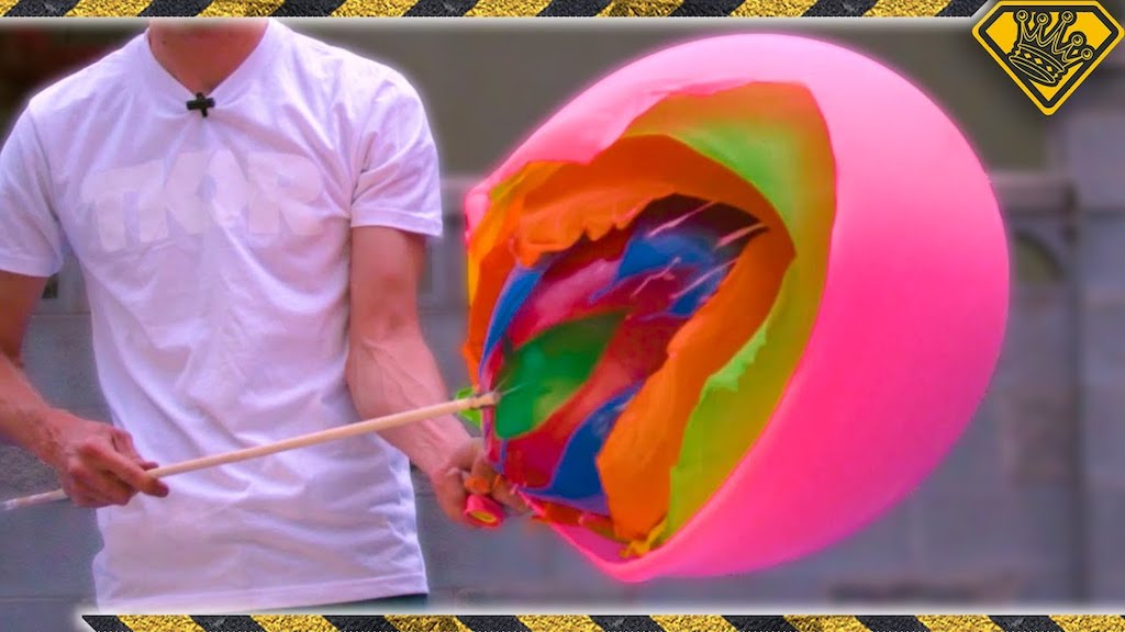 Slow Motion Footage of Popping a Balloon Inside a Balloon Inside a Balloon Inside a Balloon