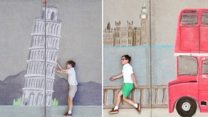 Sister Incorporates Brother Into International Chalk Vignettes