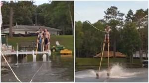 Water Skiing on 11 Foot Stilts