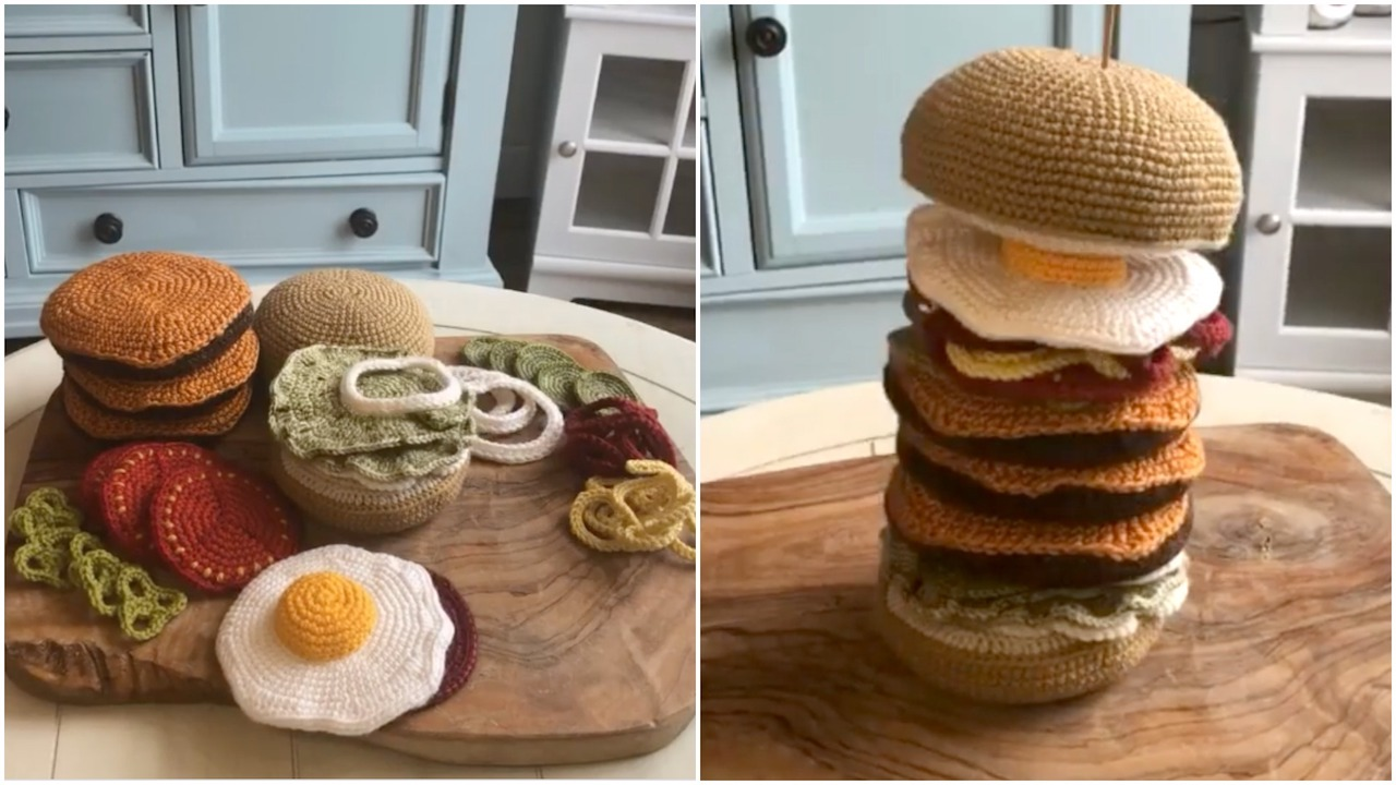 A Magnificent Crocheted Burger With All the Fixings - laughing squid