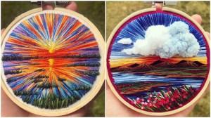 Hoop Embroidered Landscape Scenes