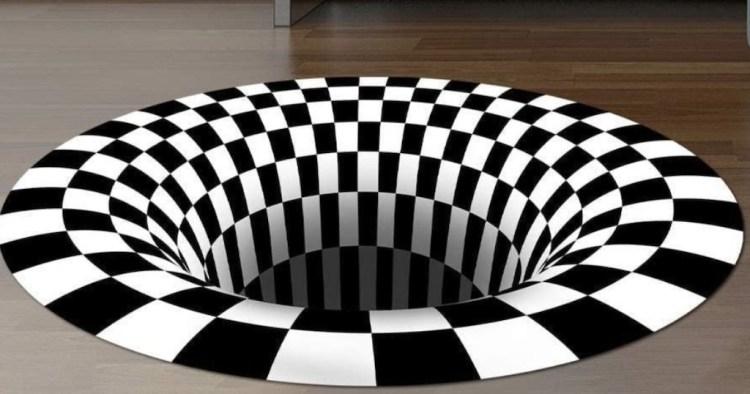 3D Checkered BW Optical Illusion Rug
