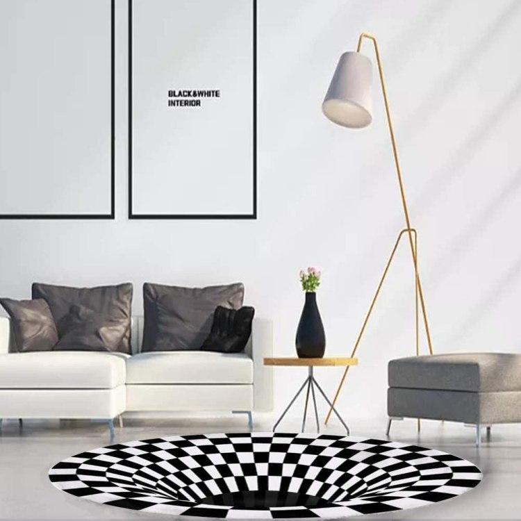 3D Checkered Optical Illusion Rug Black an White
