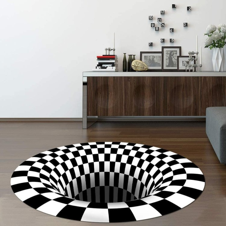 3D Checkered Optical Illusion Rug Living Room