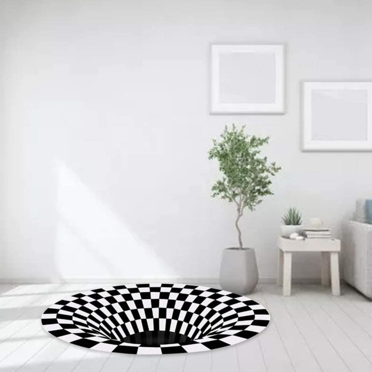 3D Checkered Optical Illusion Rug Plant