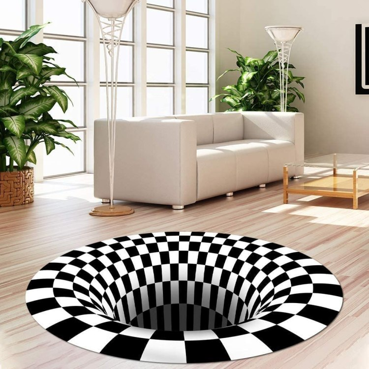 3D Checkered Optical Illusion Rug Sofa