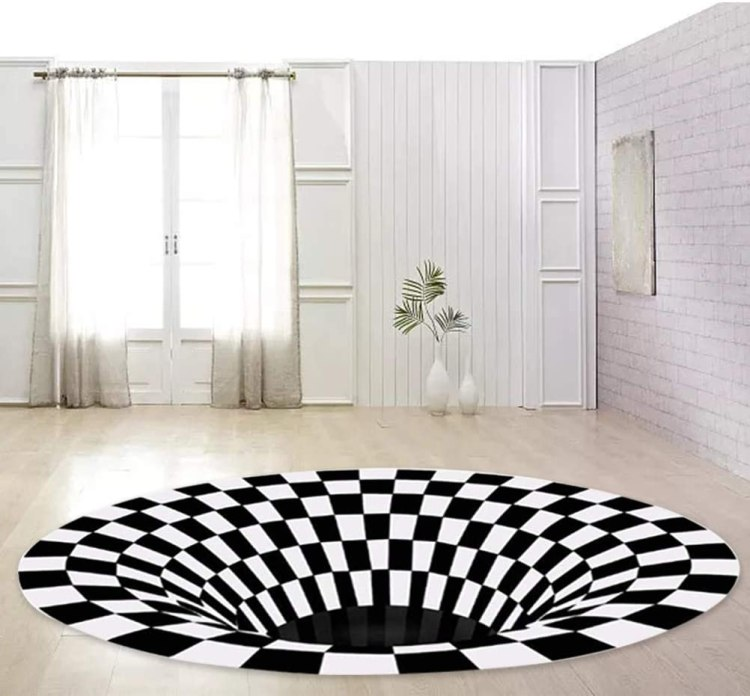 3D Checkered Optical Illusion Rug