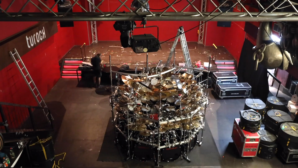 Timelapse of the World's Largest Drum Kit Being Set Up