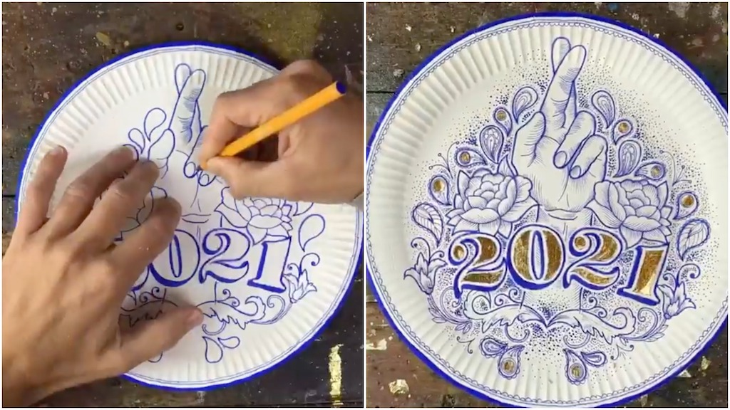 A 'Budget Bone China' Blue Ink Commemorative Paper Plate That Calls Upon Better Times in 2021