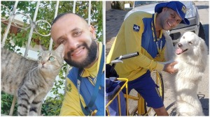 Brazilian Postal Worker Takes Selfies of Cats Dogs on Route