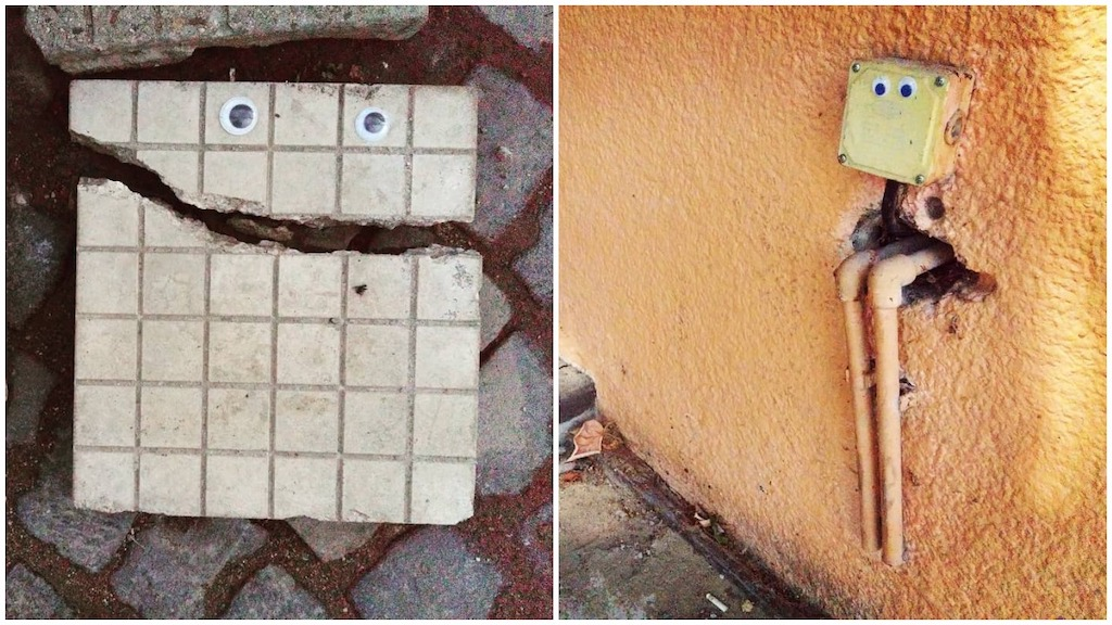 'Eyebombing'  Bulgarian Artist 'Humanizes' Random Street Objects by Gluing Googly Eyes on to Them - laughing squid