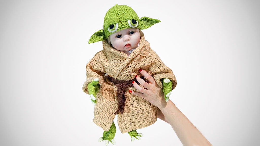 Hand Knit Baby Yoda Costume Held