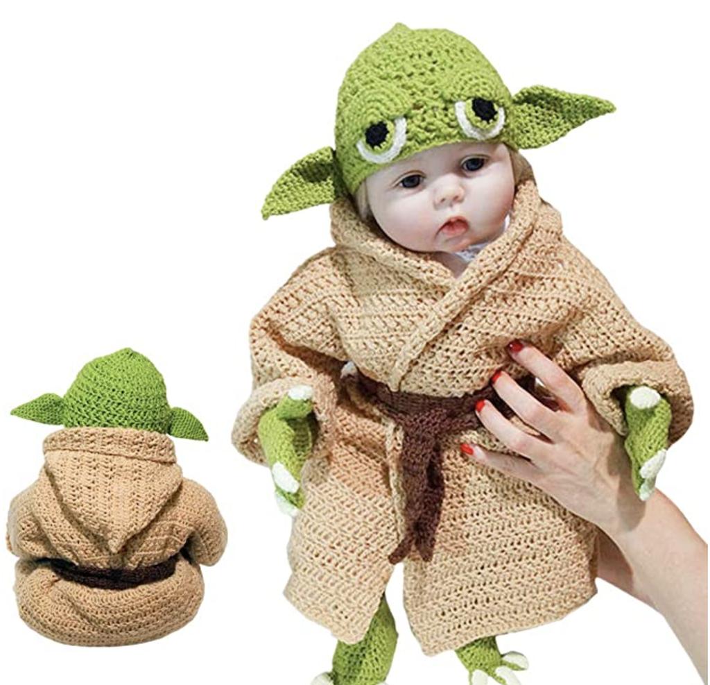 HandKnit Baby Yoda Costume Front