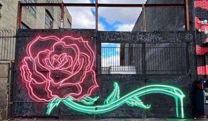 Illuminated Rose Mural Spray Neon Paint
