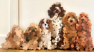 Pointillist Wooden Dog Sculptures