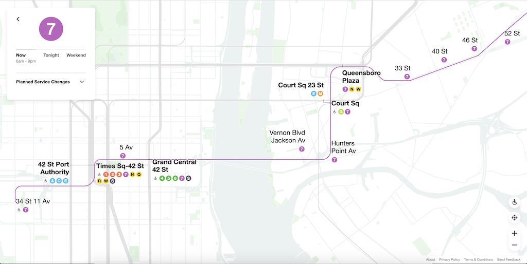 Live NYC Subway Map 7 Train
