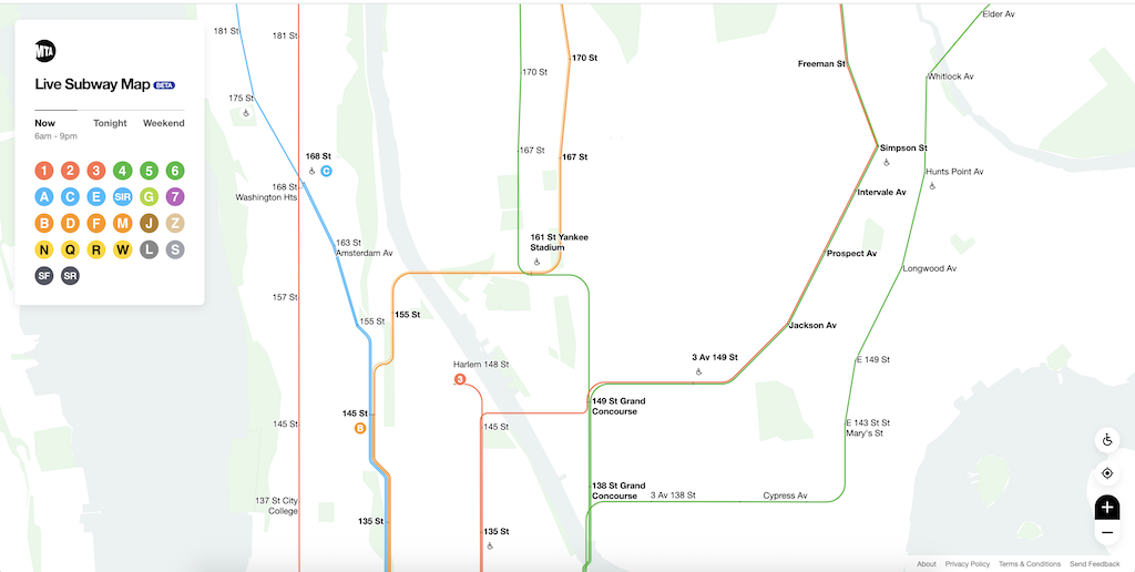 Live NYC Subway Map Bronx Harlem