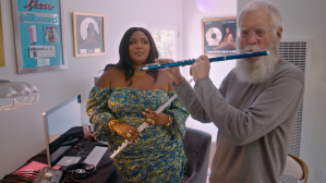Lizzo and Letterman play the flute