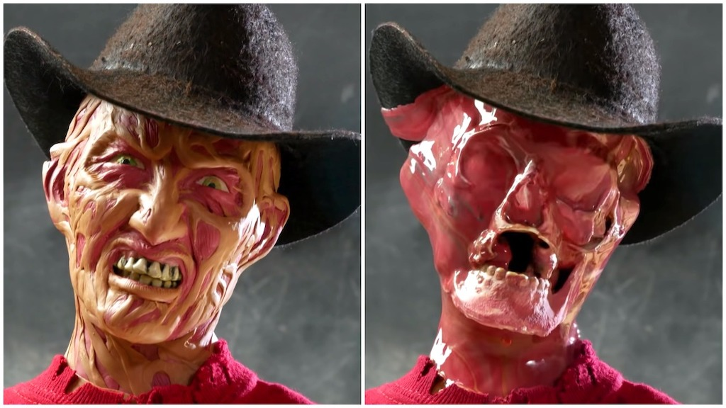 Spooky Freddy Krueger From 'Nightmare on Elm Street' Made of Crayons That Satisfyingly Melts Under Heat