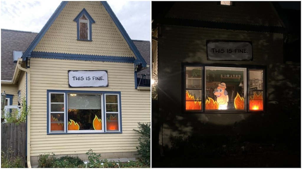 This Is Fine Halloween Display