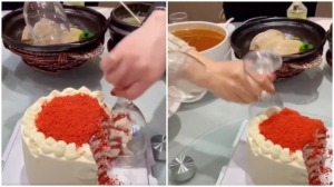 Cutting Cake With Wine Glasses