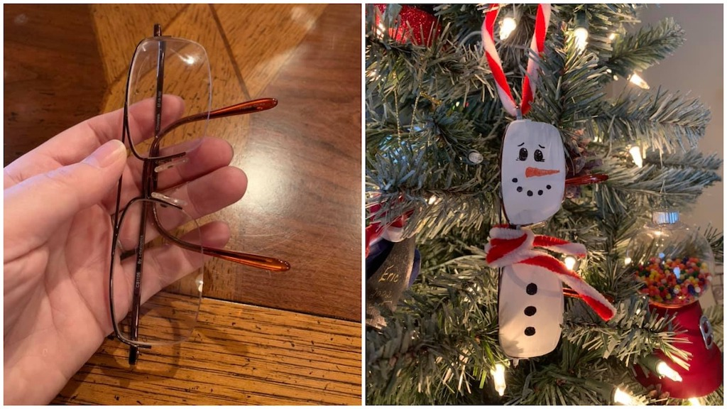 Widow Turns Husbands Glasses to Snowman Ornament