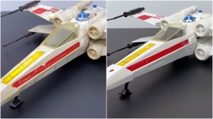 X Wing Toy Before and After Restoration
