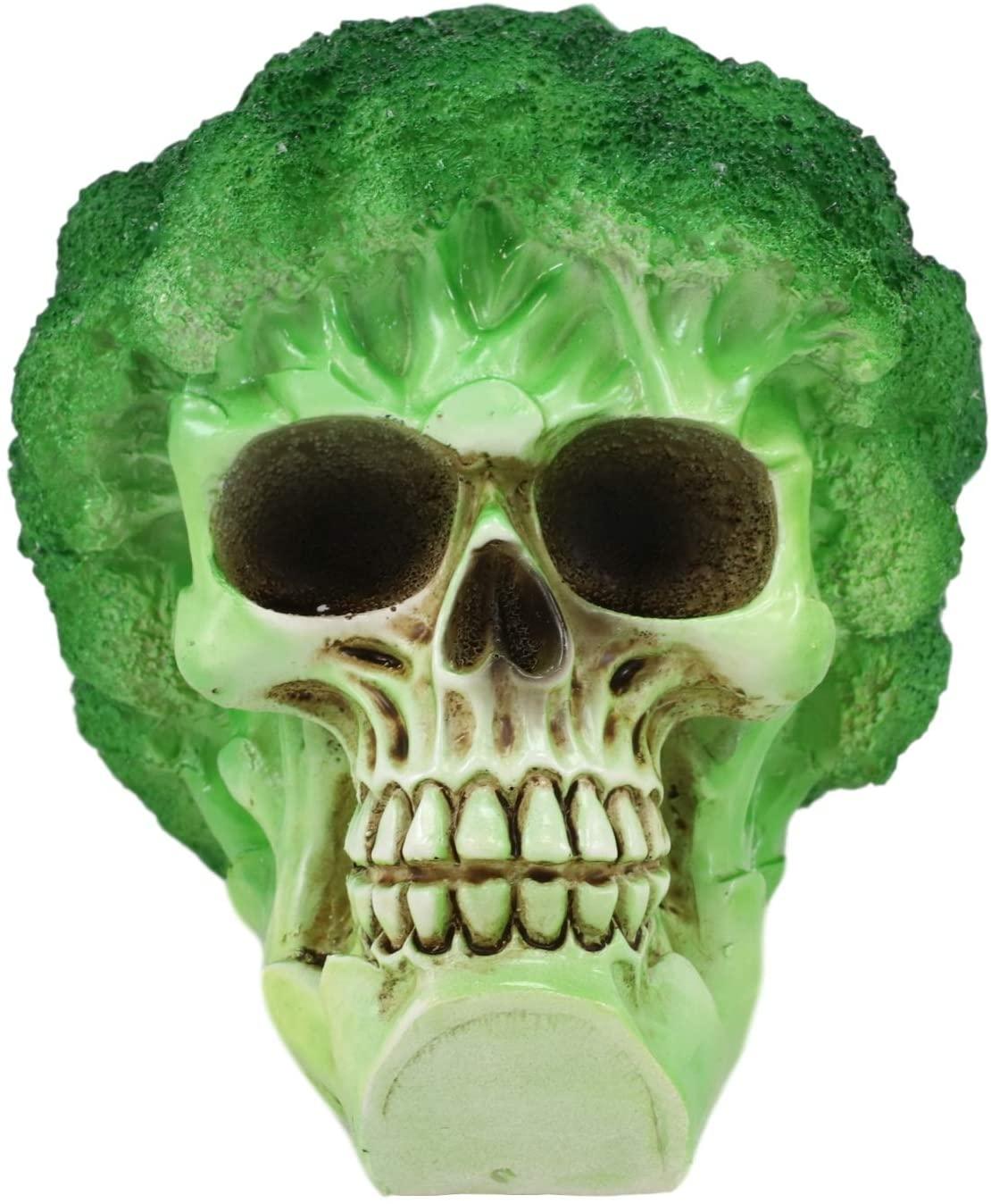 Broccoli Skull Statue Front