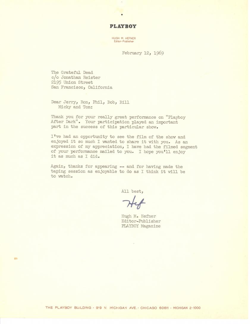 Hefner Letter to Grateful Dead