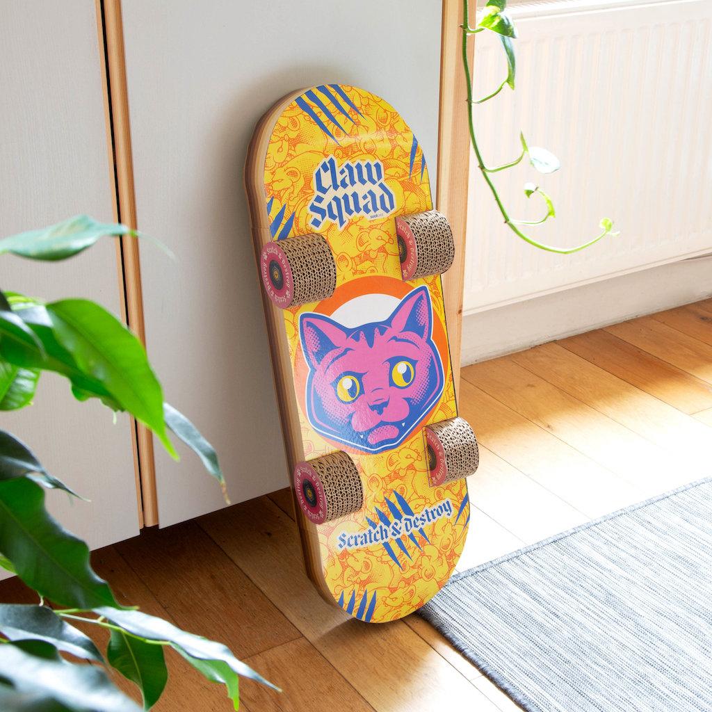 Cat Skateboard Scratcher Leaning